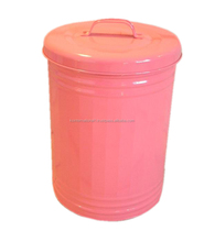 colorful galvanized metal Garbage Can Trash Can
