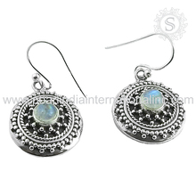 Glowing shiny rainbow moonstone hook earring exporters 925 sterling solid silver jewelry 925 sterling silver jewelry wholesaler