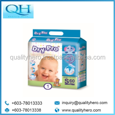Quality Hero baby disposable diaper Dry-Pro Baby Diaper with Trendy Back PE Sheet S60 from Malaysia