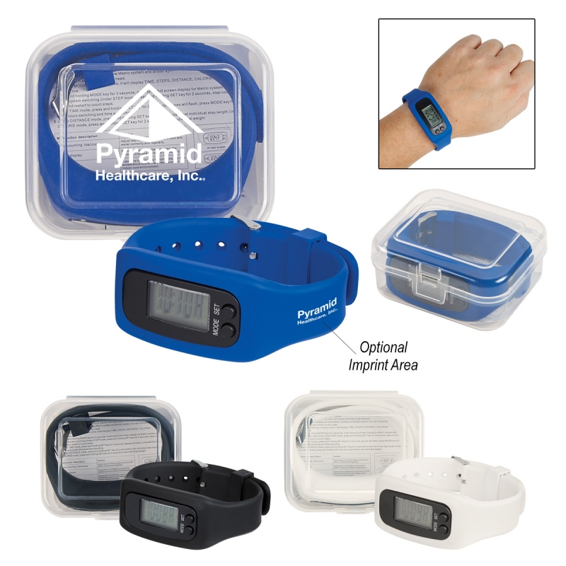 Digital LCD Pedometer Watch In Case - records from 1 to 99,999 steps, silicone strap buckle closure and comes with your logo