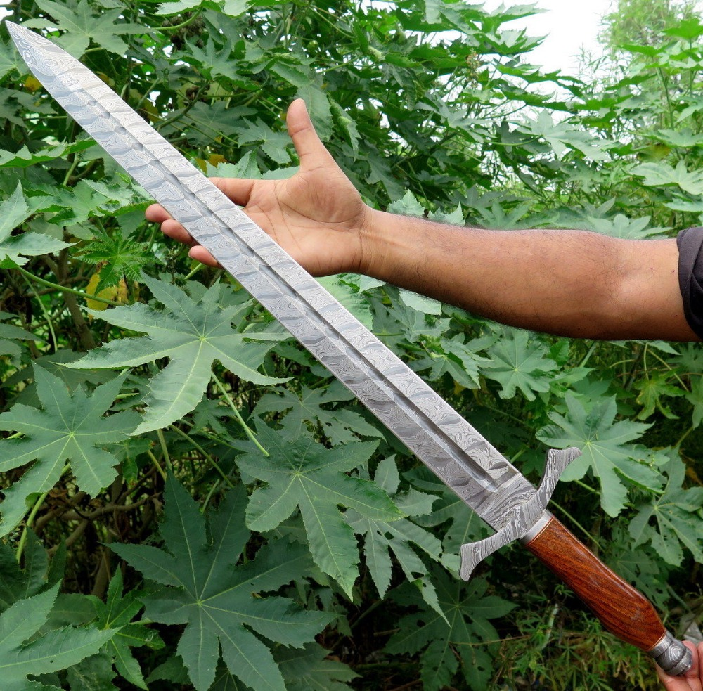 Hand Made Damascus Sword With Natural Rose Wood Handle