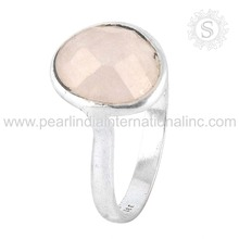 Hilarious rose quartz gemstone indian silver jewelry 925 sterling silver wedding rings handmade silver jewellery ring
