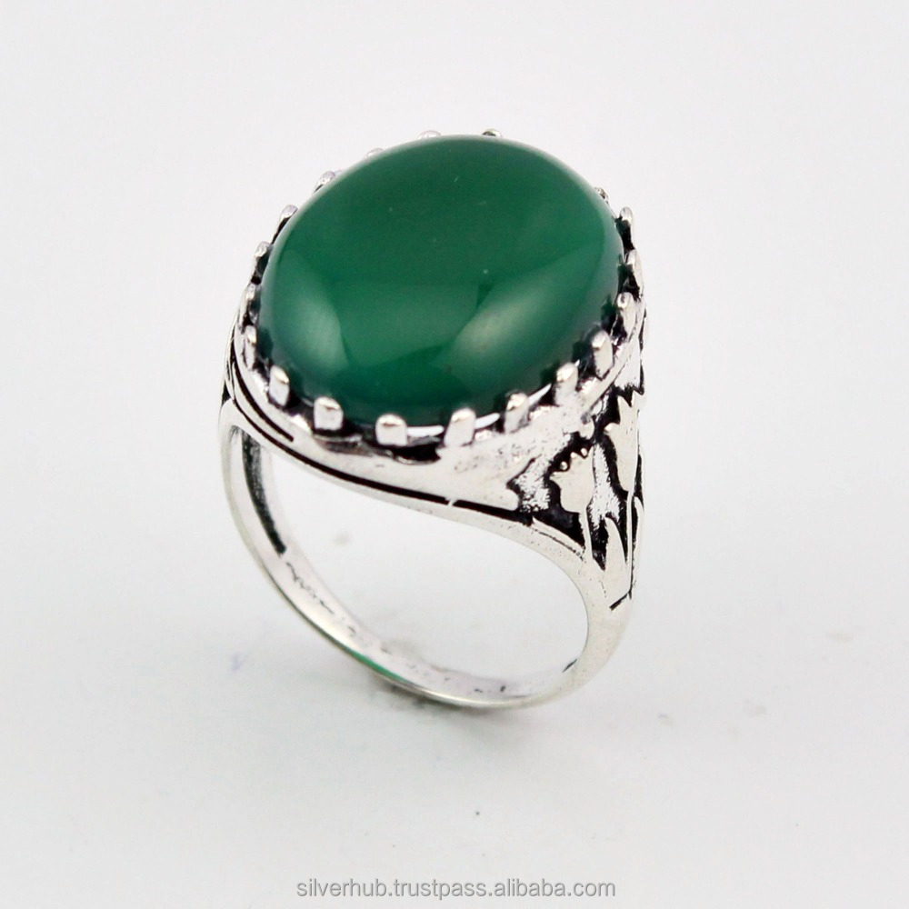 Latest 925 Sterling Silver Green Onyx Oval Handmade Designer Customized Ring