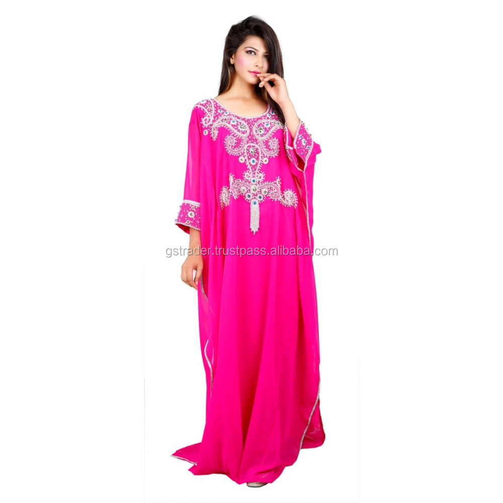 2015 Wedding Party Wear High beaded Flower Pattern Farasha moroccan abaya dress kaftan dress for sale kaftan