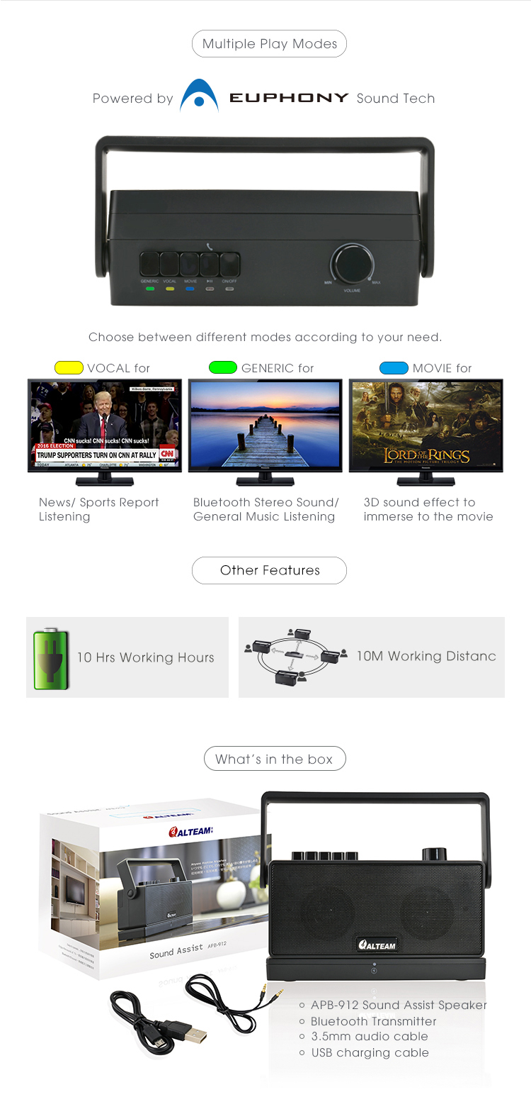 For Elderly Unique Bluetooth Tv Transmitter With Speaker And Sound Audio Box