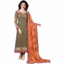 Women's Semi-Stitched Mehendi Colour Georgette Latest Indian Dress Material (salwar kameez Suits)
