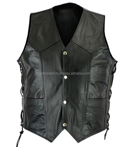 side laces leather vest / men hunting leather waistcoat