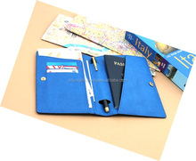 Blue Color Customizable Passport Cover/Case/Holder With 3 Card Pockets,Pen Holder,Currency Compartment