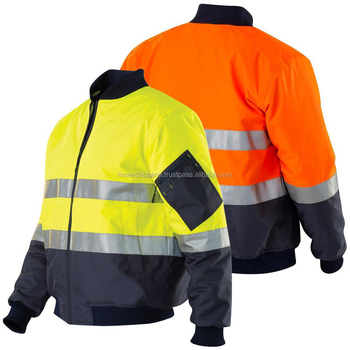 fluo yellow safety bomber jacket with pockets
