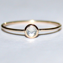 Solid 14k gold thin Rose cut white sapphire stacking ring set
