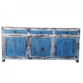 Contemporary Large 2m Distressed White Blue Sideboard