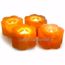 Himalayan Salt Carved Rose Shape Candle Holder