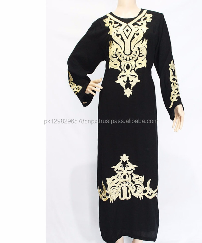 Black Jersey Modest Abaya Maxi Dress Gold Floral Embroidery Dress