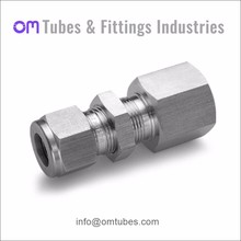 SS316 Compression Tube Fittings Hex Nipple