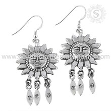 Emphatical sun plain silver earrings 925 sterling solid silver earring indian silver jewelry wholesaler india