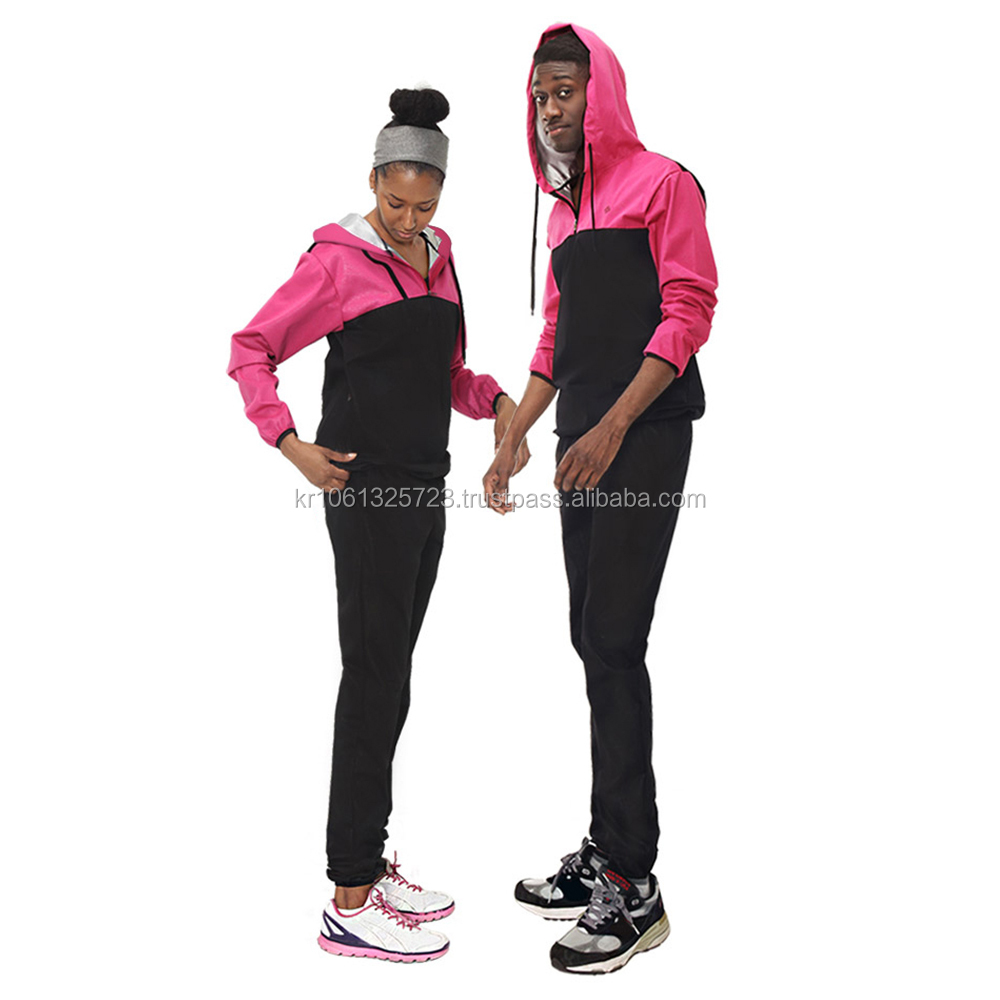 HOTSUIT Loss Weight Unisex Hoodie Sauna Suit Black and Pink Made in Korea