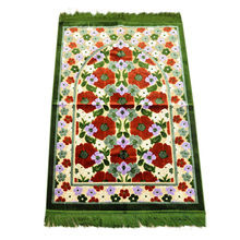 Flowers Patterned Prayer Mat, Turkish Prayer Mar, Prayer Rug, Islamic Prayer Mat , Traveller's Prayer Mat