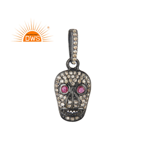 925 Sterling Silver Pave Diamond And Ruby Gemstone Skull Designer Single Pendant Silver Jewelry Wholesaler