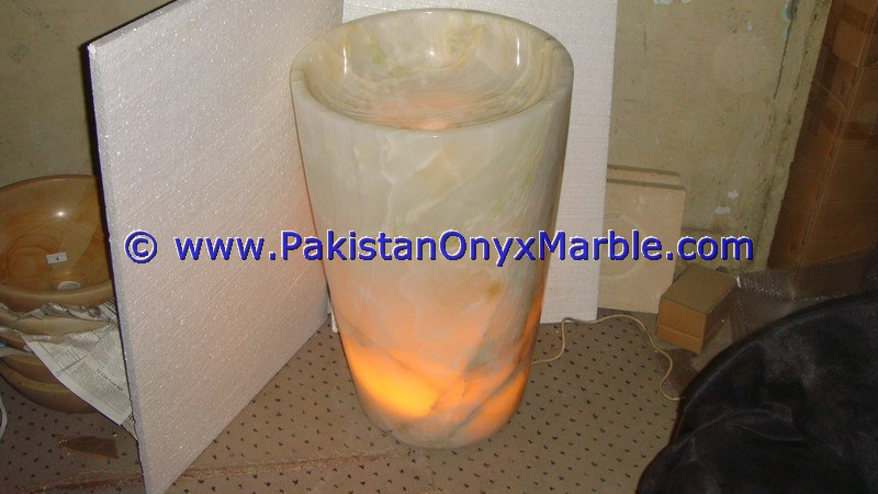 Creative Designs Top Quality ONYX PEDESTALS SINKS BASINS WHITE ONYX