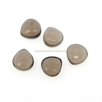 Smoky quartz semi precious 8x8mm heart cabochon 2.16 cts loose gemstone for jewelry