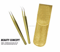 Gold color 2pcs Straight Bend Tweezers for Eyelash Extensions / Eyelash Extension Tweezers