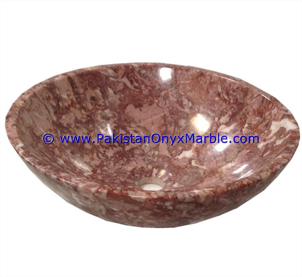 PURE NATURAL MARBLE SINKS BASINS ROUND BOWL RED ZEBRA