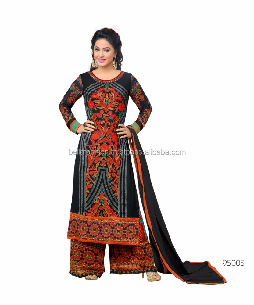 Indian and Pakistani Beautiful Woman Wear Dress Embroidery Designer Straight Suits