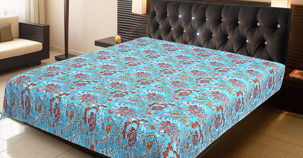 Bird Kantha Quilt Coverlet Floral Queen Blanket Throw Handmade Vintage Bedspread Home Decor Reversible Bedding Set Kantha Quilt