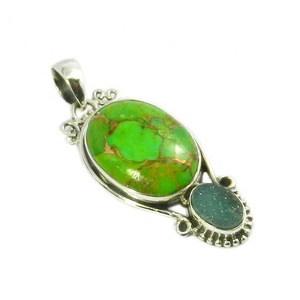 Fashion trendy 925 sterling silver green turquoise multi gemstone pendant