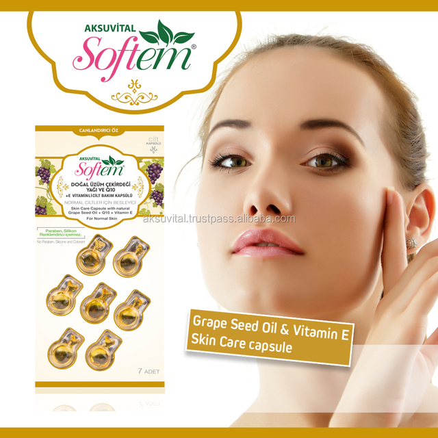 Face Skin Capsules Vitamin E & Grape Seed Natural Beauty Cosmetics Bio Herbal Health Care Ampoule Natural Grape Seed & Coenzyme
