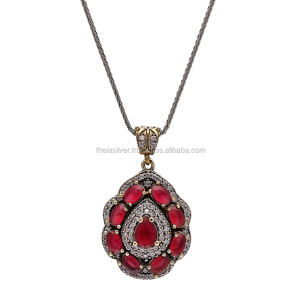 Turkish Wholesale Designs For Girl Handcrafted Silver Authentic Necklace Pendant 925 Sterling Silver Jewelry