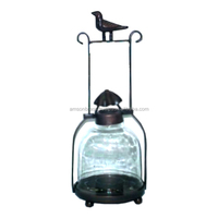 Home Decoration Glass Lantern Bird on top