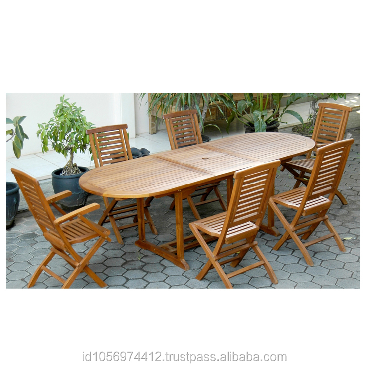 Teak oval Extention Vertical garden dining table with six folding chair Outdoor Furniture