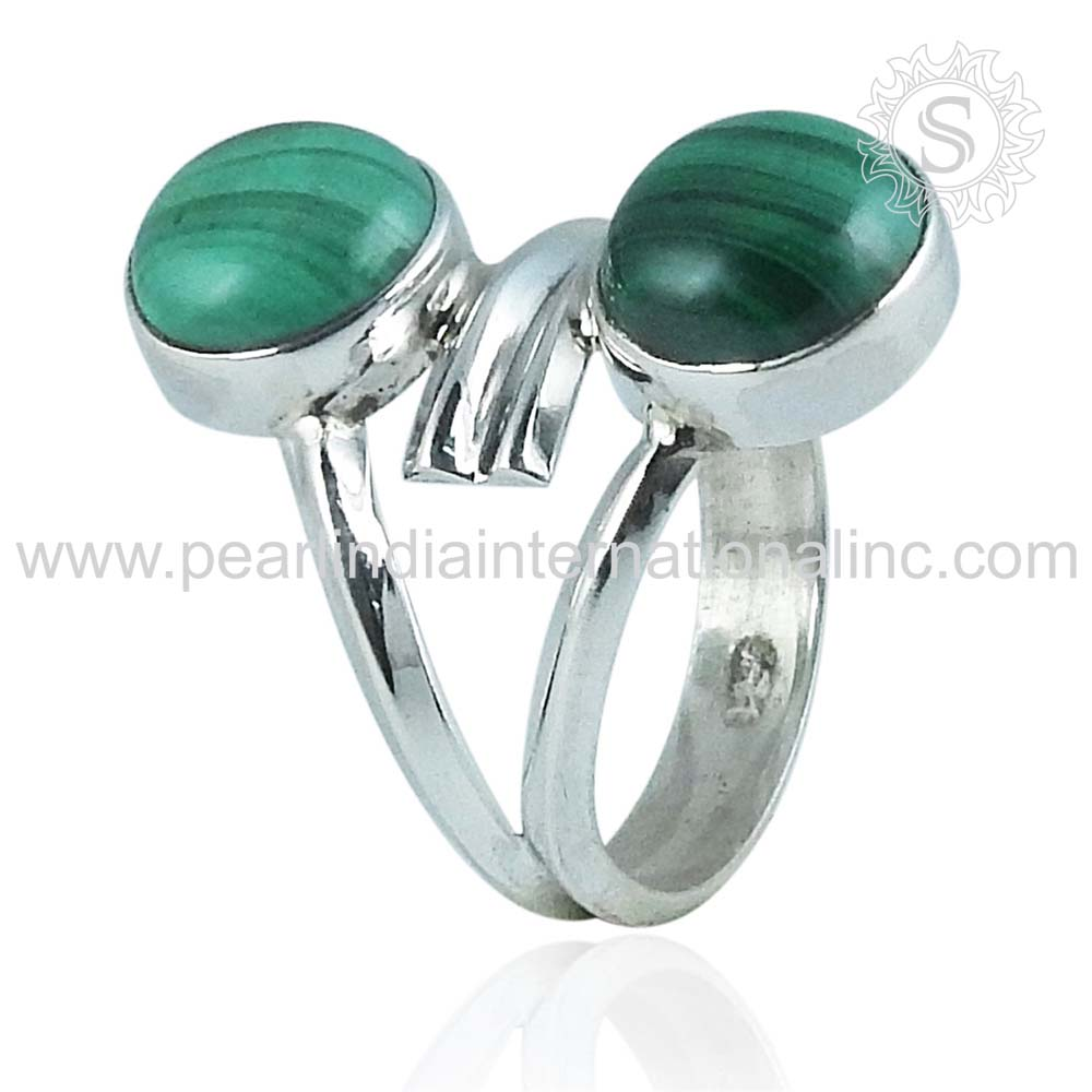Latest green malachite gemstone silver rings 925 sterling solid silver rings indian handmade silver jewelry wholesaler