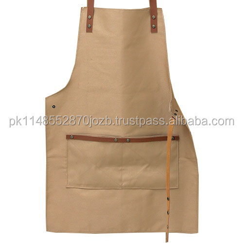 Promotion High Quality Canvas Leather Apron With Genuine Leather Straps For, Chefs, Barbers. Schorten, Tabliers, Delantales