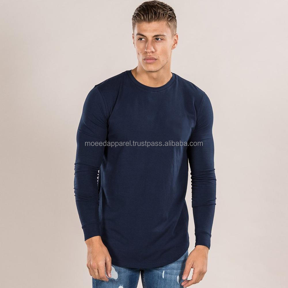 Long Sleeves Cotton Elastane Gym Fitted Curved Hem Longline T-Shirt