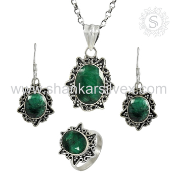 Bridal green emerald jewelry set wholesaler 925 sterling silver jewelry indian jewelry handmade