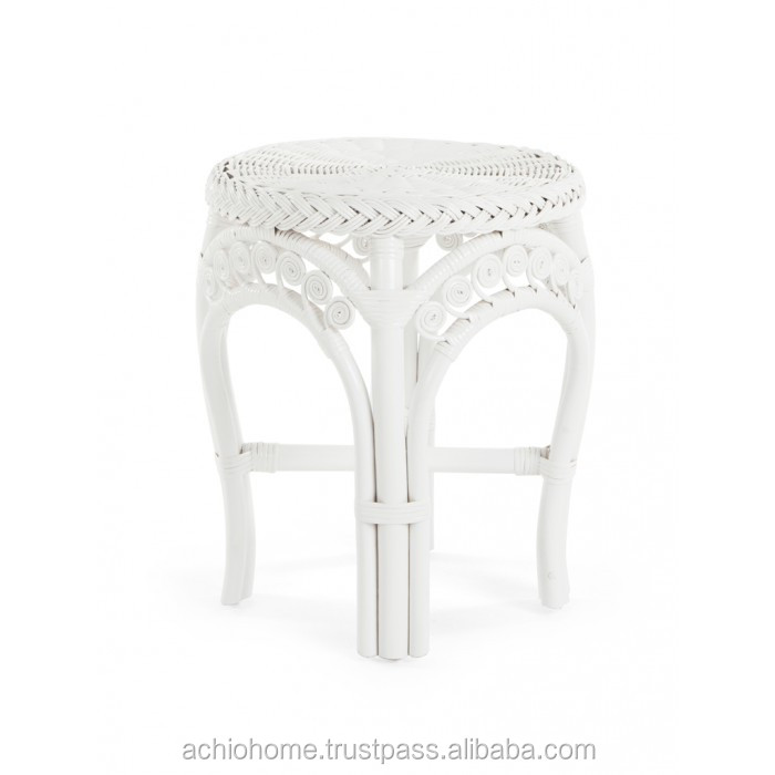 ACHIO Vietnam natural rattan stool with white rattan construction and plastic strip SGS, INTERTEK (skype: rock4h)
