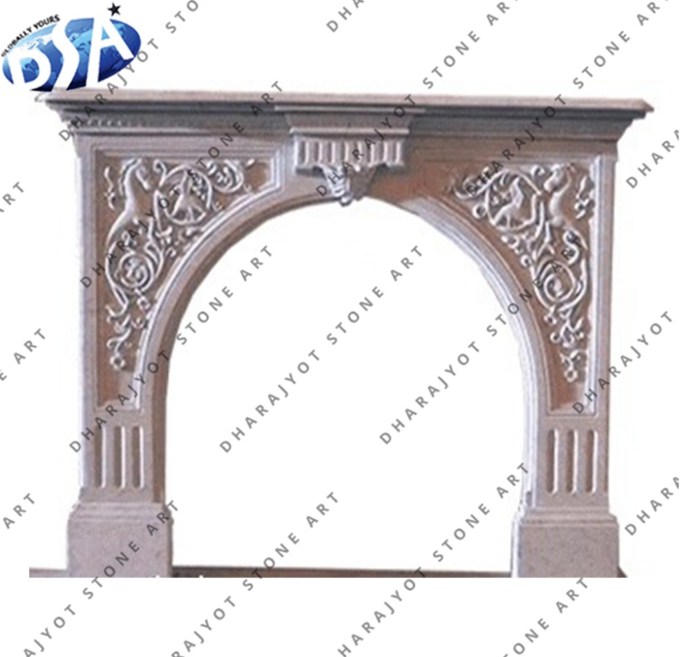 Indian Pink Stone Hand Carved Fireplace