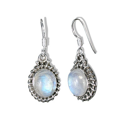 Bridal Fashion Jewelry Fine Colored Rainbow Moonstone 925 Sterling Silver Earrings