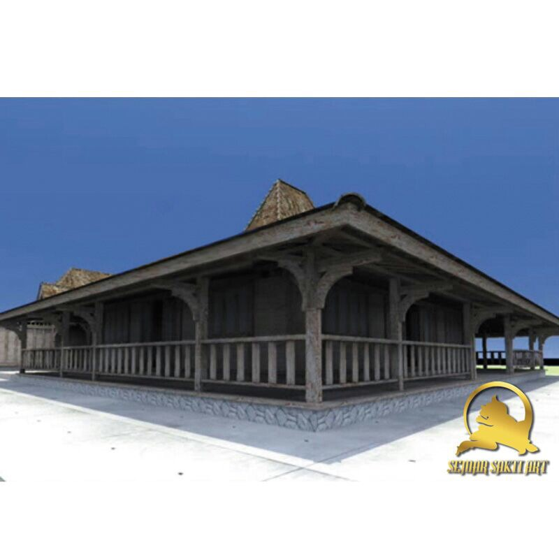 100% Indonesia Traditional Wooden Joglo house Prefab with Carved Wooden