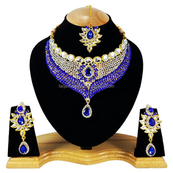 Designer Party Wear kundan Black Stone Color Gold Plated Zerconic Necklace Earrings Tikka
