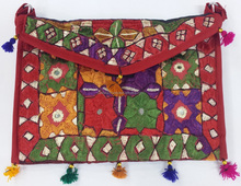 Indus Valley Handicraft Shoulder Bag for Women Multicolor Thread Embroidery with Mirror Work