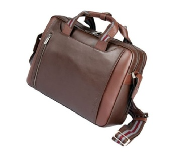 Men's Leather Briefcase Messenger Bag Laptop Bag Case Shoulder Bag for Business Travel - Brown