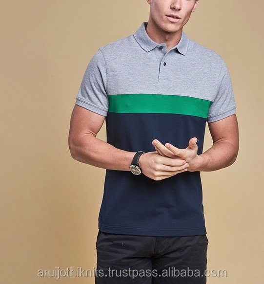 Men's cut and sew style polo shirt