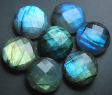 Wholesale Blue Fashy Faceted 15mm Coin Natural Stone Labradorite
