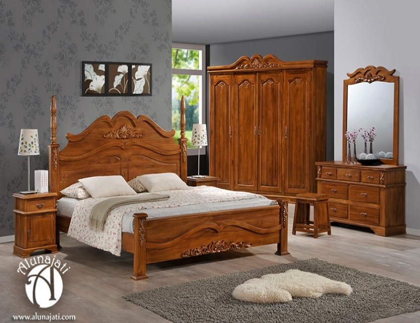 Modern Antique Wooden Teak Bedroom Set Home Furniture