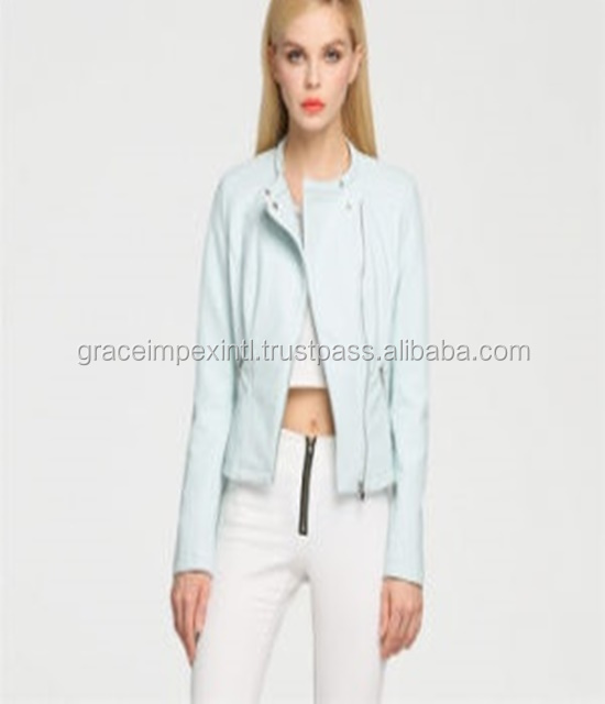 New white Leather Look Short Women Jacket