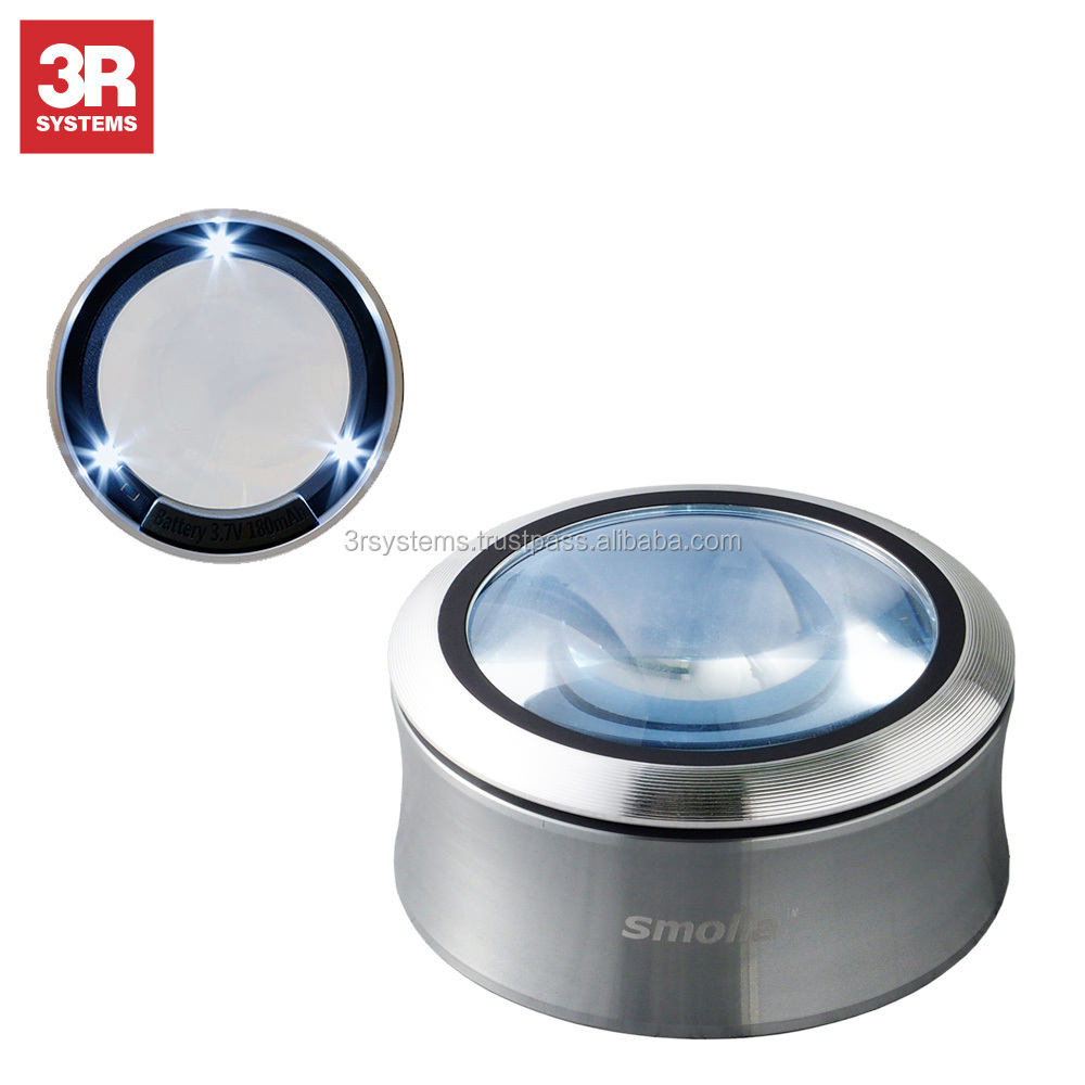 Ergonomic design and 3 LED lights led magnifying glass for using in indonesia paper factory , high-grade K9 lens