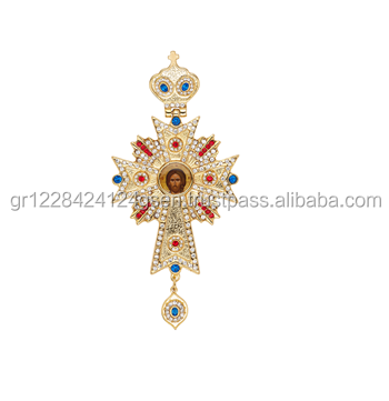 Christian Orthodox Gold Plated Jewelry Pectoral Cross from Zamak and Bronze - Religious Items